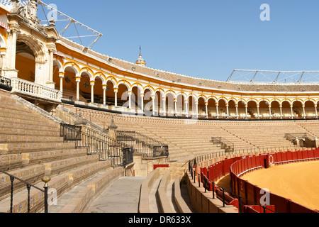 Plaza de toros de la Real Maestranza de Caballeria de Sevilla or simply Plaza de Toros of Seville, the oldest bullring - Stock Photo