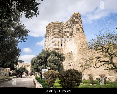 Maiden Tower in the old town of Baku, Azerbaijan. - Stock Photo