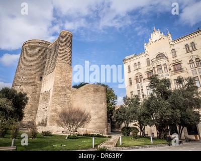 Maiden Tower in the old town of Baku, Azerbaijan. - Stock Photo
