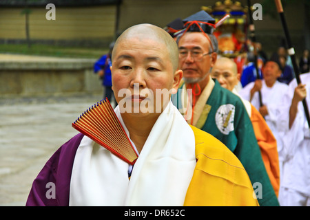 Buddhist procession at Todaiji temple, Nara, Japan. - Stock Photo