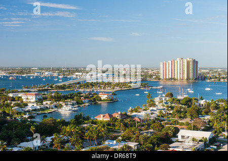 USA Palm Beach West , Riviera Beach , panorama of Intercostal ,Blue Heron bridge Peanut Island , Lake Worth inlet - Stock Photo