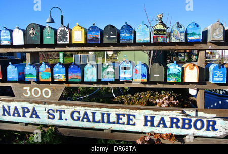decorative mailboxes at gate 5 houseboat community in Sausaliltol - Stock Photo