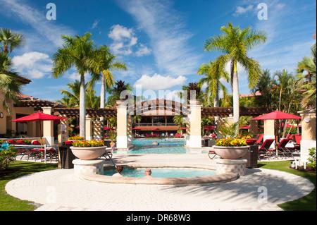... USA Florida PGA National Golf Course Palm Beach Gardens Hotel U0026  Swimming Pool Area Trees Red