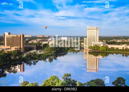 View of Downtown Disney and Lake Buena Vista in Orlando Florida on sunny day - Stock Photo