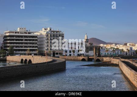 Bridges to the Castillo de San Gabriel, right, the ball bridge, Puente de las Bolas, Lanzarote, Canary islands, - Stock Photo