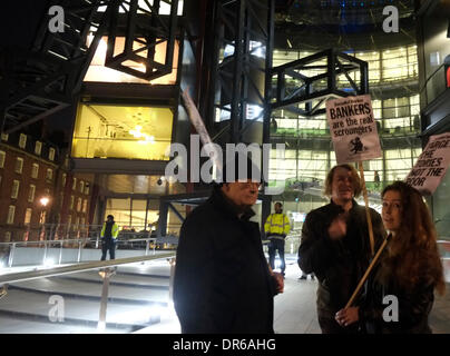 London, UK. 20th Jan, 2014. Protesters Outside channel 4 building in London angry at depictions of benefit claiments - Stock Photo