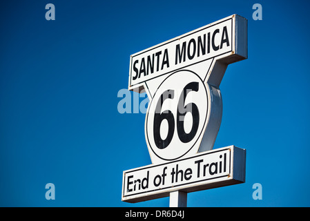 Route 66 End of Trail road sign in Los Angeles, California. - Stock Photo