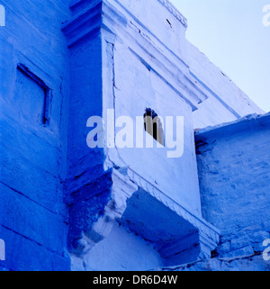 Blue house in Blue City Bhrampur Brahmpuri in Jodhpur in Rajasthan in India in South Asia. Houses Housing Building Window Wanderlust Travel