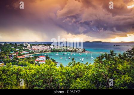 Cruz Bay, St John, United States Virgin Islands. - Stock Photo