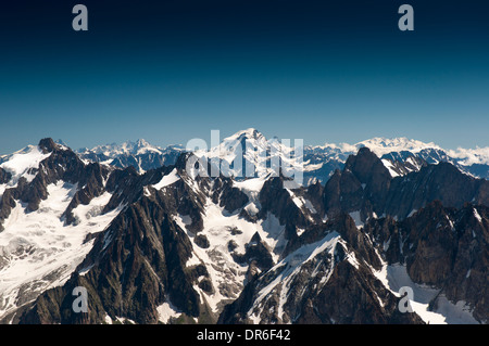 View from the Aiguille du Midi (3842m) in the Mont Blanc massif in the French Alps towards the Matterhorn (Monte - Stock Photo