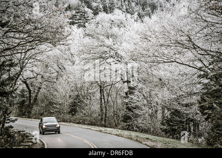 Smoky Mountains roadway in Tennessee, USA. - Stock Photo