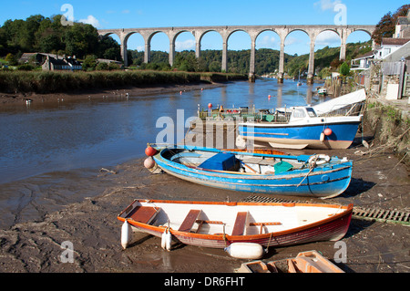 small boats moored on the river tamar near calstock in cornwall, uk - Stock Photo