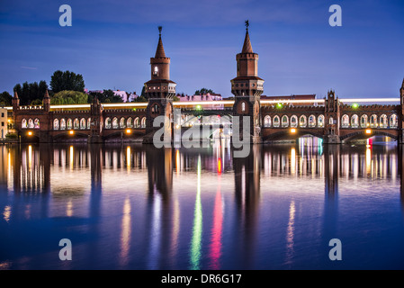 Berlin, Germany at the Oberbaum Bridge over the Spree River. - Stock Photo