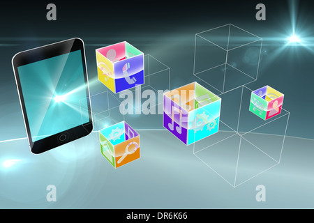 Smartphone applications graphic - Stock Photo