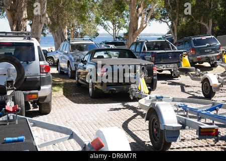 utes in nelson bay trailer park,port stephens,new south wales,australia - Stock Photo