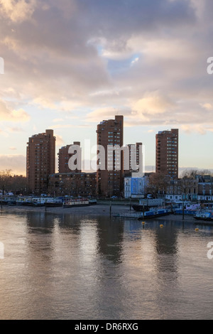 View of Worlds End estate tower blocks and River Thames after sunset Chelsea London UK - Stock Photo