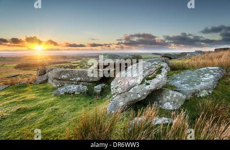Sunset at Alex Tor on Bodmin Moor near St Breward in Cornwall - Stock Photo