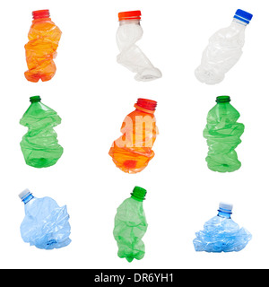 Plastic bottles isolated on white background, recycle concept - Stock Photo