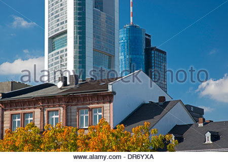 Germany, Hesse, Frankfurt am Main, residential houses, behind Commerzbank Tower - Stock Photo