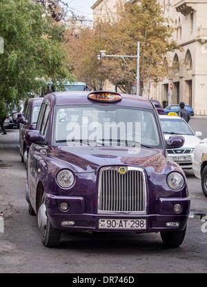 London style city taxi in Baku, Azerbaijan. - Stock Photo