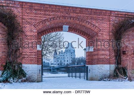 Germany, Bavaria, Ingolstadt, Klenzepark, New Castle in the background - Stock Photo