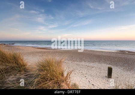 The beach and sand dunes at Hengistbury Head near Chrischurch in Dorset - Stock Photo