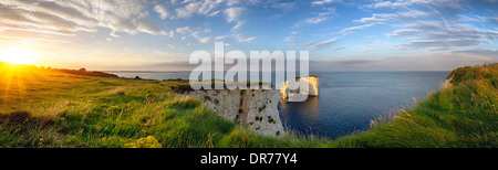 Old Harry Rocks on the Jurassic Coast in Dorset - Stock Photo