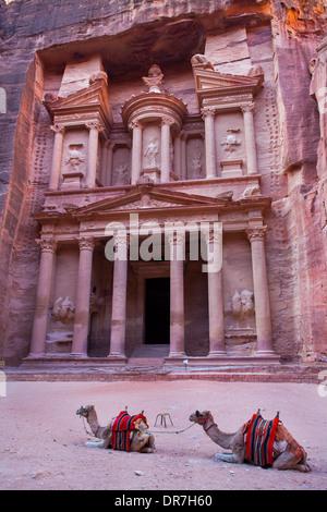 The Treasury, Al-Khazneh in Petra, Jordan - Stock Photo