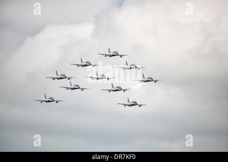 The Italian Military Aerobatic Display Team Il Frecce Tricolori in perfect formation at the 2013 Royal International - Stock Photo