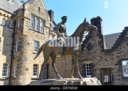 Equestrian statue of Earl Haig, British field marshal, 1861-1928, Edinburgh Castle, Edinburgh, Scotland, United - Stock Photo