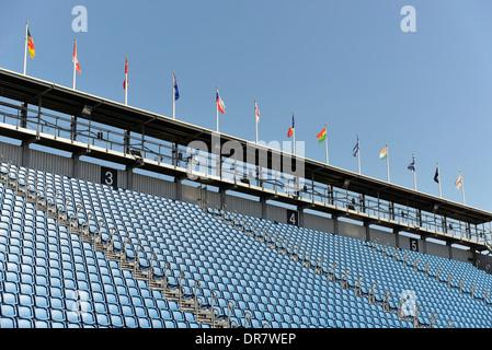 Empty grandstand, Edinburgh Military Tattoo, Edinburgh Castle, Edinburgh, Scotland, United Kingdom - Stock Photo