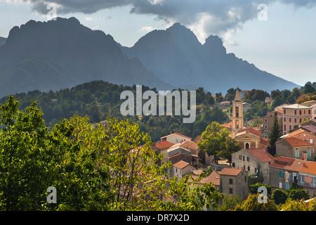 Mountain village of Evisa, Golo Valley, Corse-du-Sud, Corsica, France - Stock Photo