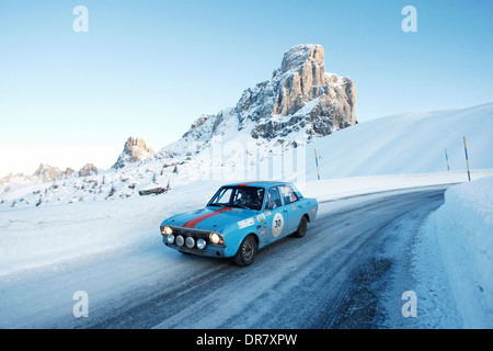 Vintage car rally, WinterRAID 2013, Ford Lotus Cortina MK II, built in 1968, Passo di Giau pass, Belluno, Italy, - Stock Photo