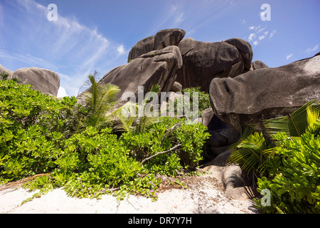 Typical rock formations in the Seychelles, Anse Union, La Digue, Seychelles - Stock Photo