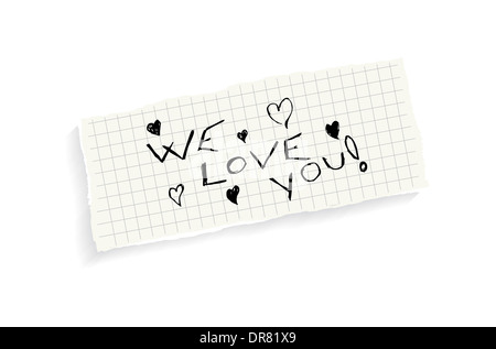 We love you! Hand writing text on a piece of math paper isolated on a white background. - Stock Photo