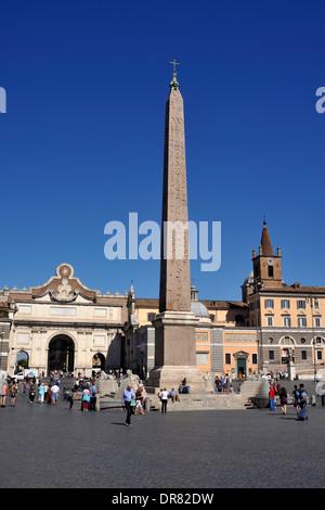 italy, rome, piazza del popolo, obelisco flaminio obelisk - Stock Photo