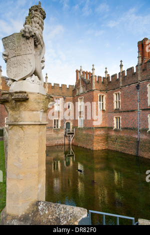 Flooded moat of Hampton Court Palace filled deep with water after an unusually long spell of wet weather. Surrey - Stock Photo