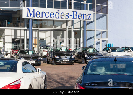 Mercedes-Benz dealership. Car showroom and forecourt, Nottingham, England, UK - Stock Photo