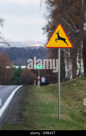Road in Poland with deer crossing warning sign, Plock Poland - Stock Photo