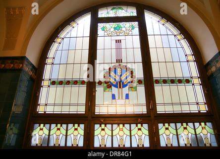 Czech Republic. Prague. Municipal House. Designed by Osvald Polivka and Antonin Balsanek. Art Nouveau. Stained glass. - Stock Photo