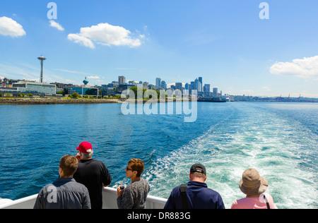 Downtown skyline from an Argosy harbor cruise round Puget Sound, Seattle, Washington, USA - Stock Photo