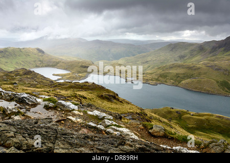 Photograph taken from the PYG track on Snowdon in Snowdonia taken about halfway up overlooking Llyn Llydaw and Llyn Glaslyn