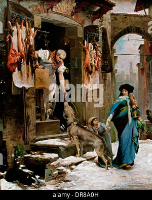 The Wolf of Agubbio 1878 (MIRACKLE SAINT Francis of Assisi on the place OF GUBBIO Italy ) Luc Olivier Merson 1846 - Stock Photo
