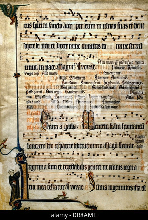 Sheet of an antiphonal Flanders Flemish  Bruges or Ghent 1310-1320 Festivals of Purification and St. Agatha ( Belgium - Stock Photo