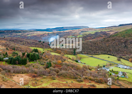 View above Capel Curig over Llugwy Valley, Snowdonia National Park, Gwynedd, Wales, UK, Europe. - Stock Photo