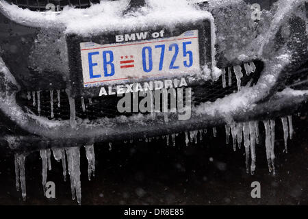 Washington DC, USA. 21st Jan, 2014. Snow and ice covers a car's front bumper in Washington DC, capital of the United - Stock Photo