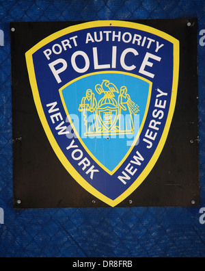 Port Authority Police Sign, New York, USA - Stock Photo