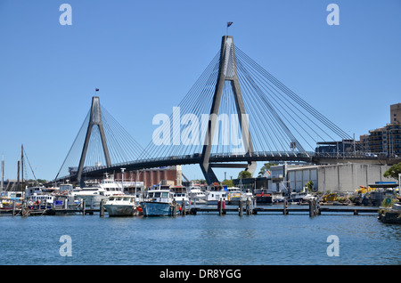 The ANZAC Bridge spanning Johnstons Bay between Pyrmont and Glebe Island in Sydney - Stock Photo