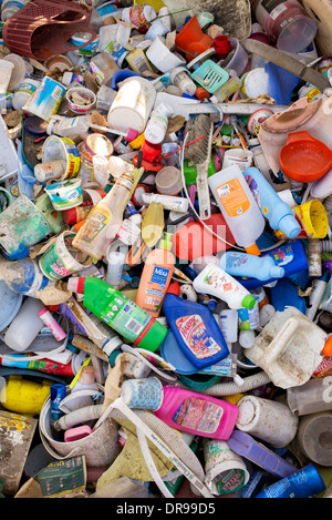 Empty Plastic domestic household bottles dumped for recycling in India Stock Photo