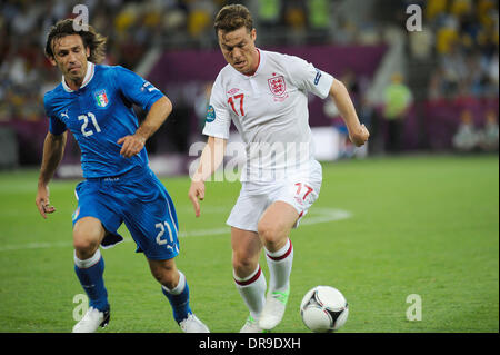 Andrea Pirlo and Scott Parker UEFA Euro 2012 - England 0 - 0 Italy - Quarter Final match held at the Olympic Stadium - Stock Photo